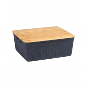 Caixa Organizadora com Tampa de Bambu - 12L - Cinza - Oikos