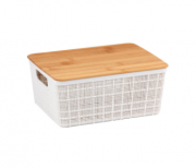 Caixa Organizadora com Tampa de Bambu - 4L - Branco - Oikos