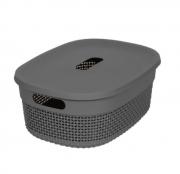 Organizador Plástico c/ tampa Cinza concreto - 3,5L - Astra