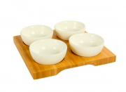 Petisqueira Bandeja em Bambu e Bowl em Cerâmica - Yoi