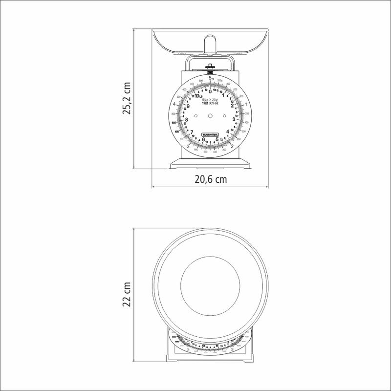 Balança Analógica em Aço Inox para Cozinha - 5kg - Adatto - Tramontina