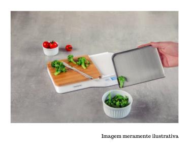 Balança Digital em Aço Inox com Tábua de Corte para Cozinha - 5kg - Adatto - Tramontina