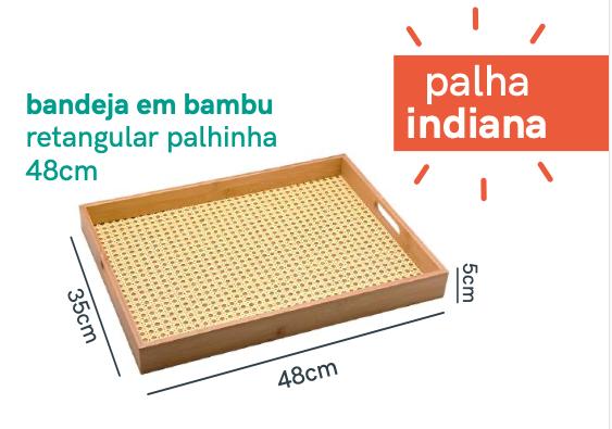 Bandeja Retangular de Bambu com Palhinha natural - 48cm - Oikos