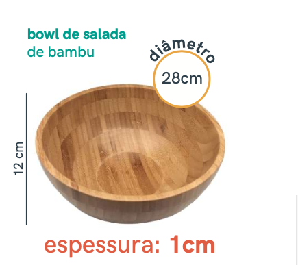 Bowl Saladeira de Bambu - 28cm - Oikos