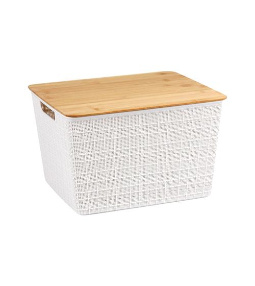 Caixa Organizadora com Tampa de Bambu - 18L - Branco - Oikos