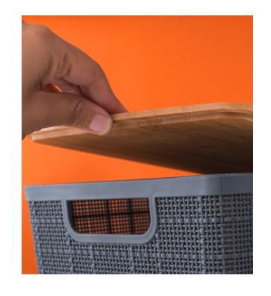 Caixa Organizadora com Tampa de Bambu - 4L - Cinza - Oikos