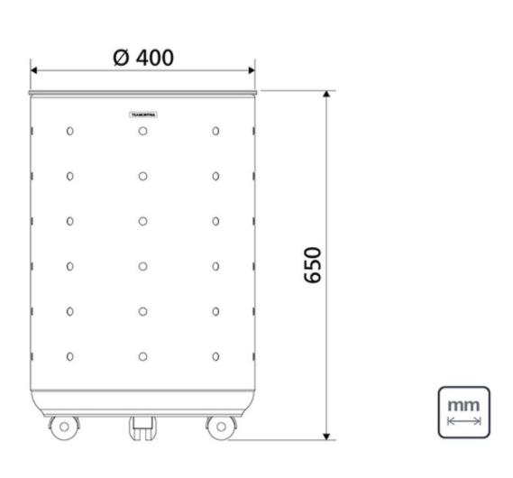 Cesto de Roupas Inox com tampa 65 kg - Branco -  Bella - Tramontina