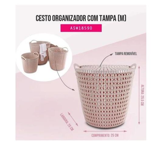 Cesto Organizador c/ Tampa Rosa (M) - Rattan - Jacki Design