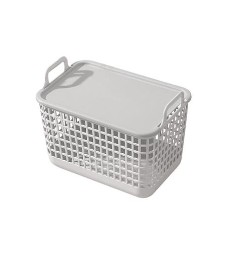 Cesto Plástico com Tampa - Médio - Cinza - Oikos