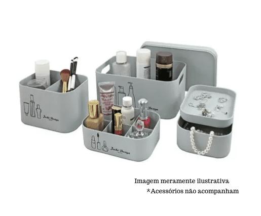 Kit Organizador Beauty Azul - 4 Peças -  Jacki Design