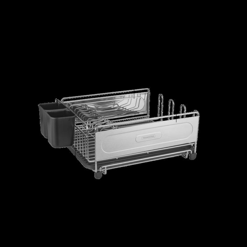 Escorredor de Louça em Aço Cromado Preto - Secador e Porta Talheres - Plurale - Tramontina