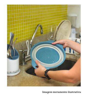 Escorredor para Alimentos em Silicone - Retrátil Azul 23cm - Oikos