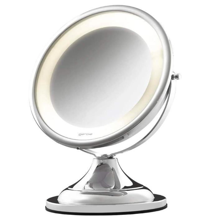 Espelho de Aumento Cromado de Mesa com Luz - Bivolt - Classic Lux - CrysBel