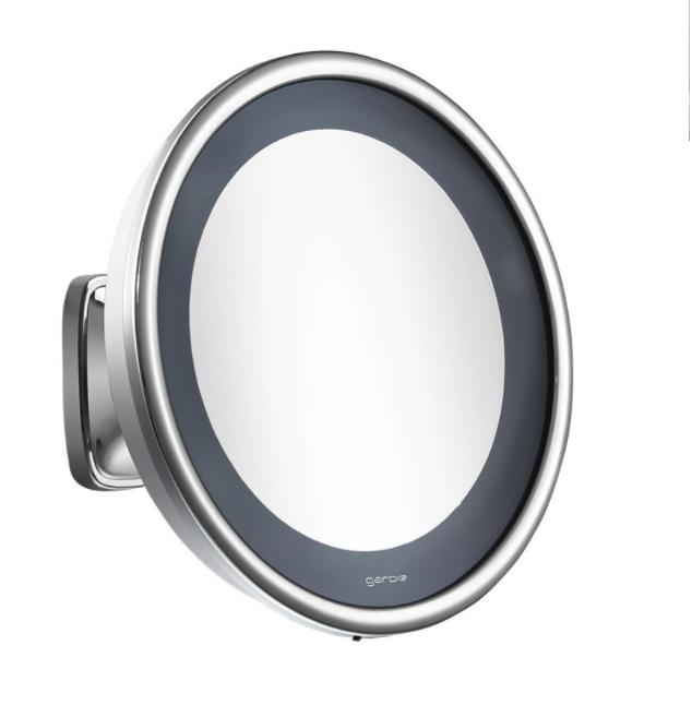Espelho de Aumento Cromado de Parede com Luz - Bivolt - Visage Lux - CrysBel