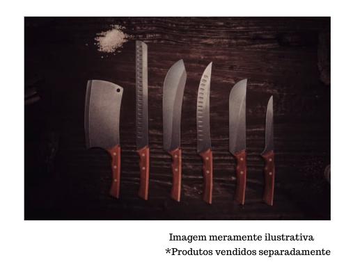 """Faca para Carne com Lâmina em Aço Inox Escurecido Curvada e Cabo de Madeira 10"""" - Churrasco Black - Tramontina"""