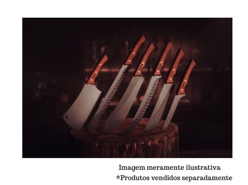 """Faca para Carne com Lâmina em Aço Inox Escurecido Curvada e Cabo de Madeira  8"""" - Churrasco Black - Tramontina"""