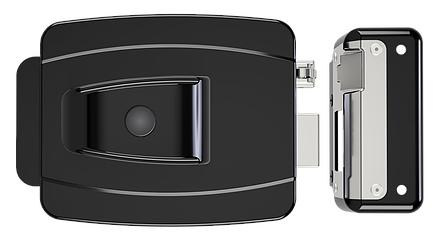 Fechadura Al 100r - 12v preta - 42mm Ch.simp. f.esp. c/botão - AGL