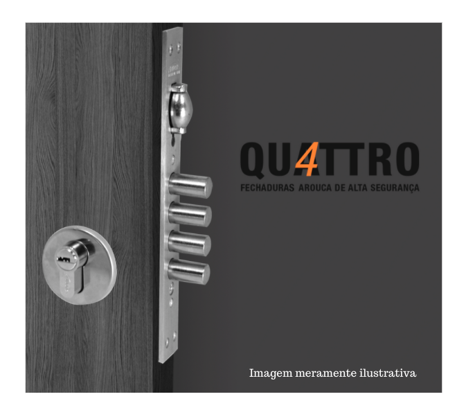 Fechadura de Alta Segurança com Trinco Rolete - Cilindro 120mm - 4 pinos - 4410TR - Quattro - Arouca