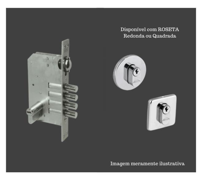 Fechadura de Alta Segurança com Trinco Rolete - Cilindro 60mm - 4 pinos - 4410TR - Quattro - Arouca