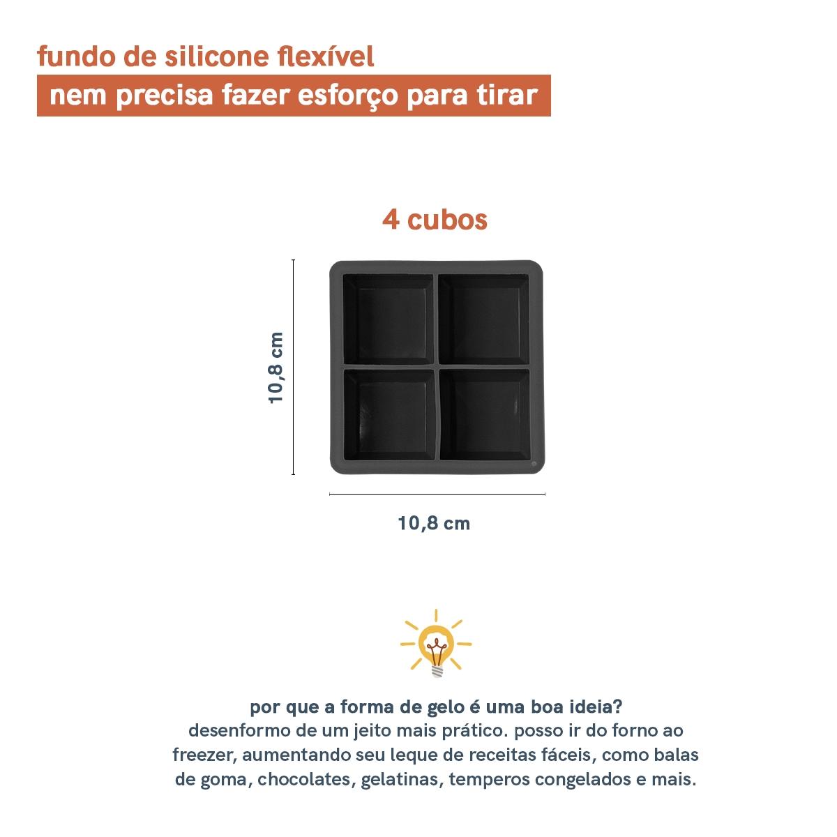 Forma de Gelo de Silicone 4 Cubos - Jumbo Preto - Oikos