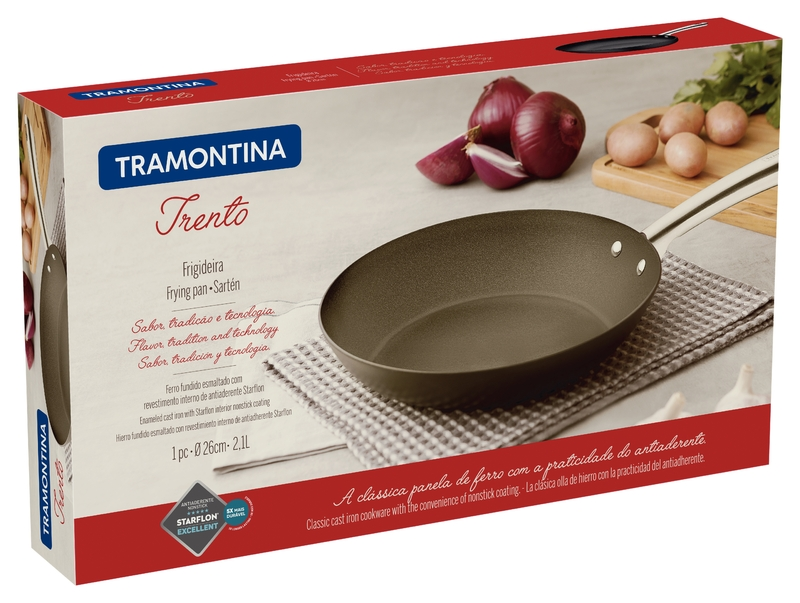 Frigideira de Ferro com Revestimento Antiaderente Trento 26cm/2,1L Preto - Tramontina