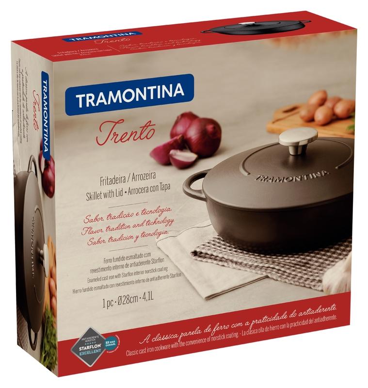 Fritadeira Ferro Esmaltado com Revestimento Antiaderente 28cm/4,1L Trento Preto - Tramontina