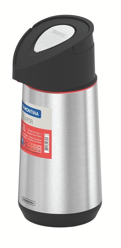 Garrafa Térmica em Aço Inox com Ampola de Vidro 1,2L Exata - Tramontina