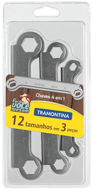 Jogo de Chaves de Aperto 4x1 com 3 Peças e Acabamento Cromado - Tramontina