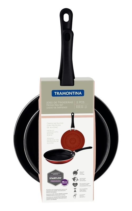 Jogo de Frigideiras em Alumínio - Revestimento Interno Starflon Premium e Externo Esmaltado - Preto - 2 Peças - Tramontina