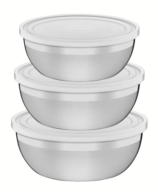 Jogo de Potes em Aço Inox com Tampa Plástica Freezinox 3 Peças - Tramontina