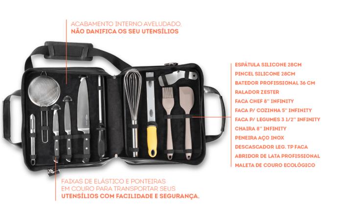Kit Chef 12 Peças em Aço Inox com Maleta Infinity - Brinox