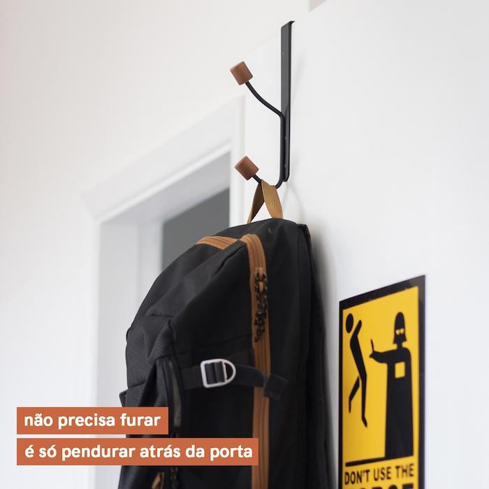 Kit com 2 Cabideiros Ferreiro com Gancho para Porta - Preto - Oikos