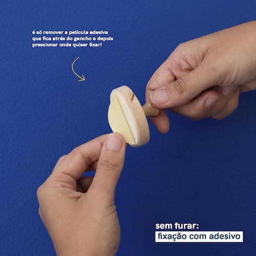Kit de 2 Ganchos de Madeira com Adesivo - Natural - Oikos