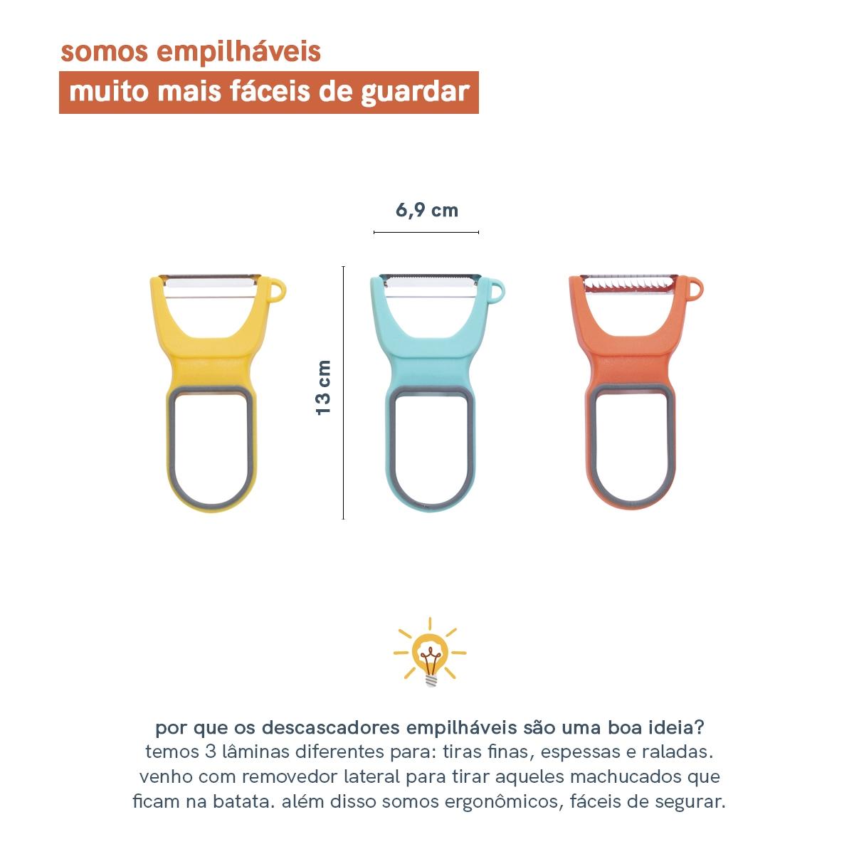 Kit de 3 Descascadores Empilháveis - Sortido - Oikos