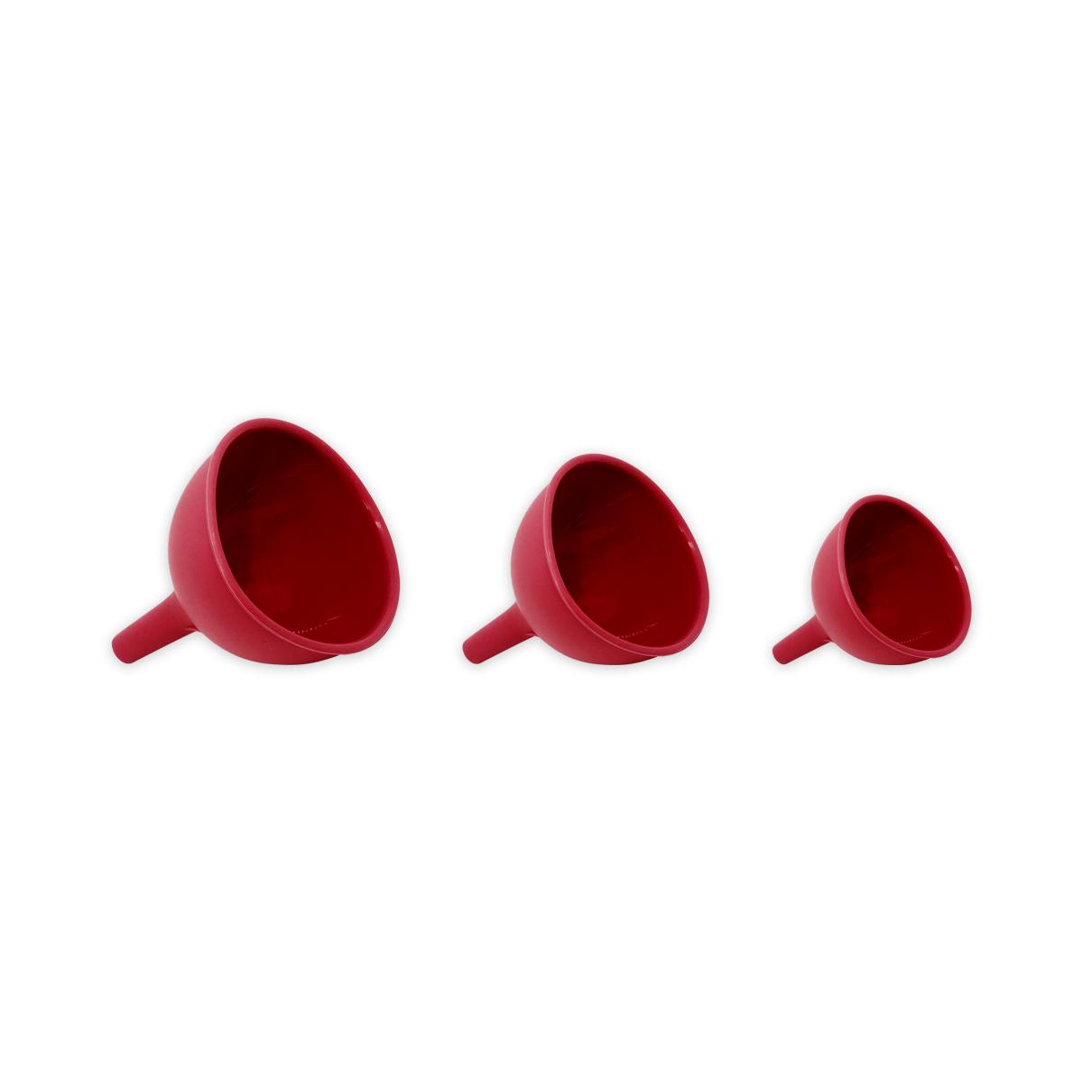 Kit de 3 Funis de Silicone - Vermelho - Oikos