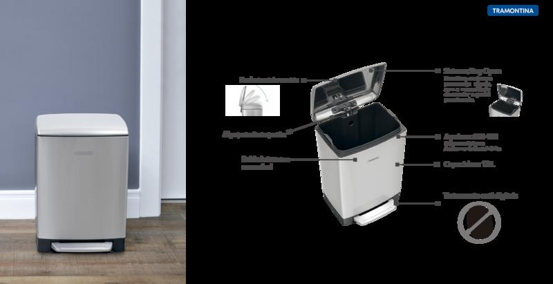 Lixeira Aço Inox com Pedal 12L - D Slim com Acabamento Scoth Brite - Tramontina