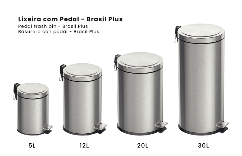 Lixeira Brasil Plus com Pedal e Balde Interno Removível 12L - Tramontina