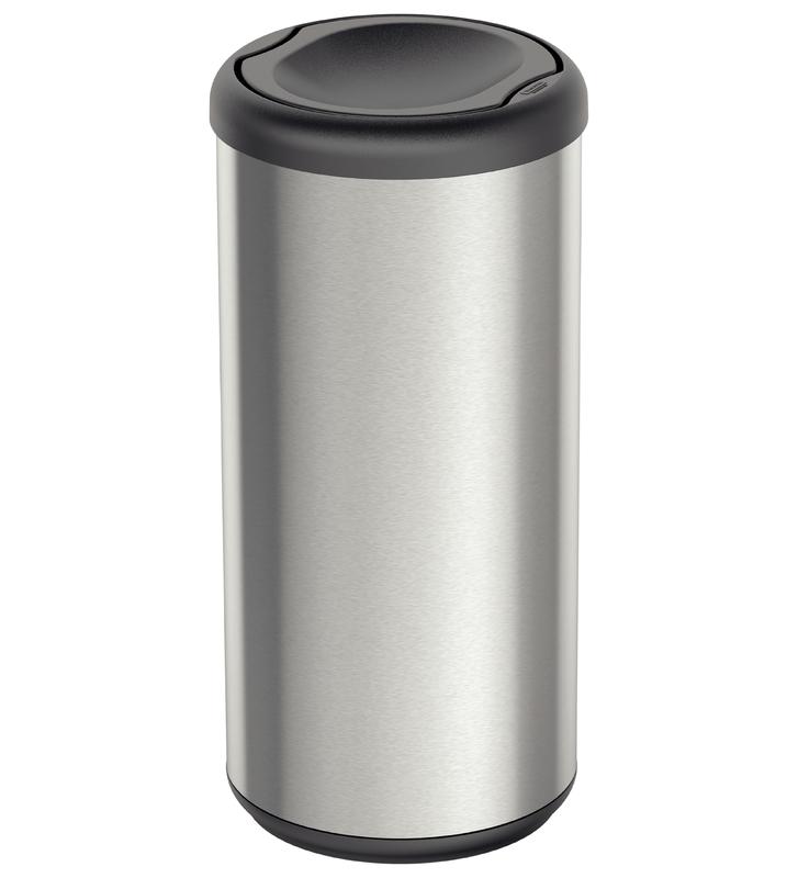 Lixeira Cápsula Selecta Plus Basculante 40L - Aço Inox com Tampa Basculante Preto - Tramontina
