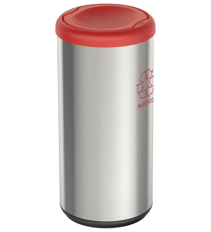 Lixeira Cápsula Selecta Plus Basculante 40L - Aço Inox com Tampa Basculante Vermelho - Tramontina
