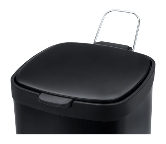 Lixeira em Aço carbono com Pedal e balde - 20L - Preta - Frame