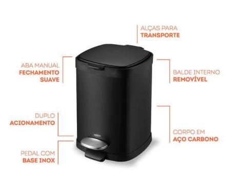 Lixeira em Aço carbono com Pedal e balde - 6L - Preta - Frame
