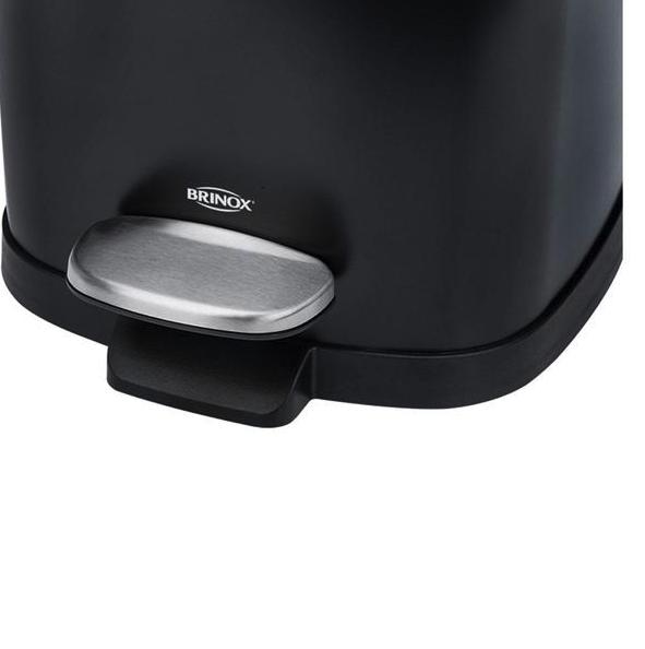 Lixeira em Aço carbono com pedal e balde - Preta - Frame - Brinox
