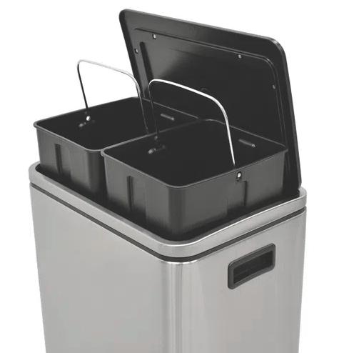 Lixeira Inox com pedal 2x15L - Quadratta Plus - Tramontina