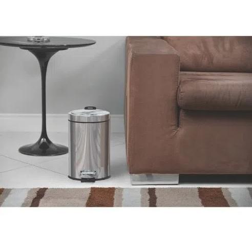 Lixeira Inox com pedal - Acabamento polido e balde interno - 5L - Tramontina