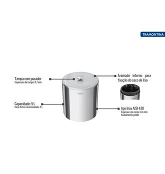 Lixeira Inox com tampa 5L - Útil - Tramontina