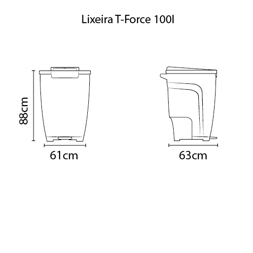 Lixeira T-Force 100L - Polipropileno Preto - Tramontina