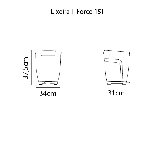 Lixeira T-Force 15L - Polipropileno Preto - Tramontina