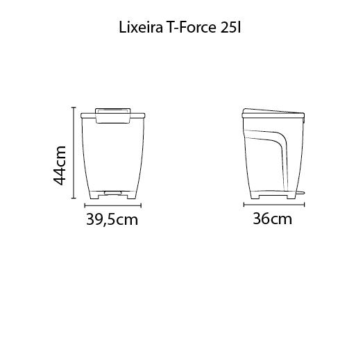 Lixeira T-Force 25L - Polipropileno Branco - Tramontina
