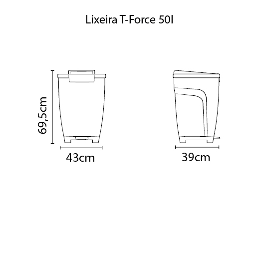 Lixeira T-Force 50L - Polipropileno Preto - Tramontina