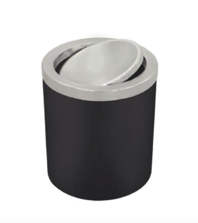 Lixeira Útil Basculante em Aço Inox - 5L - Preta - Tramontina